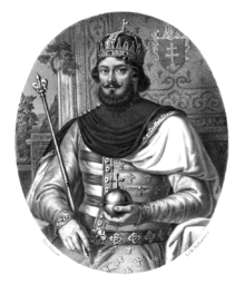 A bearded man wearing a crown sits on a throne