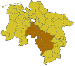 Map of Lower Saxony highlighting the former Regierungsbezirk of Hanover
