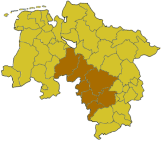Landesliga Hannover - Map of Lower Saxony:Position of the Hanover region highlighted