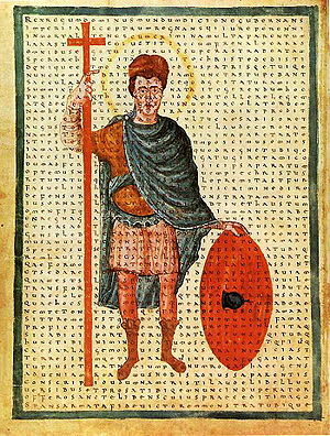Louis the Pious - Louis the Pious, contemporary depiction from 826 as a miles Christi (soldier of Christ), with a poem of Rabanus Maurus overlaid. Vatican, Biblioteca Apostolica Vaticana, Codex Reg. lat 124, f.4v.