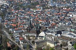 City centre of Oldenburg including St Lamberti Church