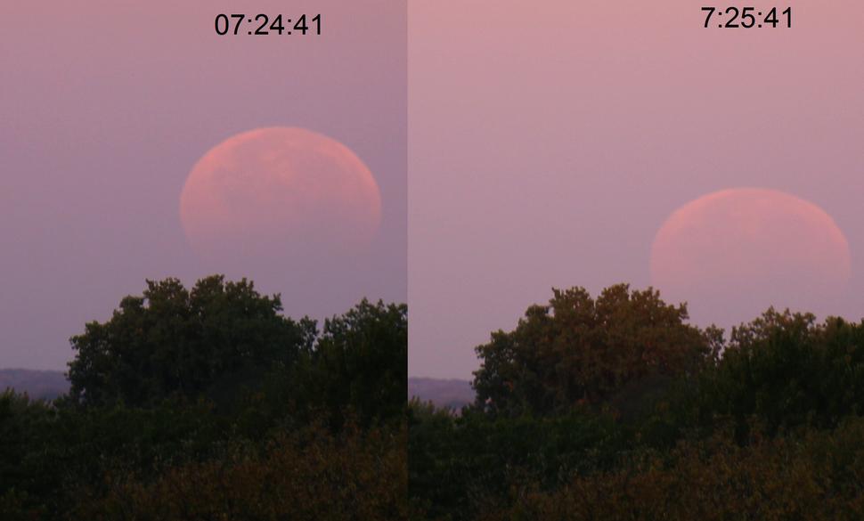 Lunar eclipse at sunrise Minneapolis October 2014