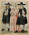 Målning, akvarell. Två män och en kvinna i 1600-tals kläder - Nordiska Museet - NMA.0031343.jpg