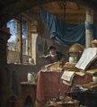 Målning. Vetenskapsman i sitt arbetsrum. Thomas Wyck - Hallwylska museet - 86746.tif
