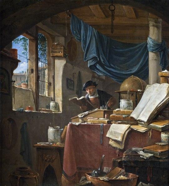 Målning. Vetenskapsman i sitt arbetsrum. Thomas Wyck - Hallwylska museet - 86746