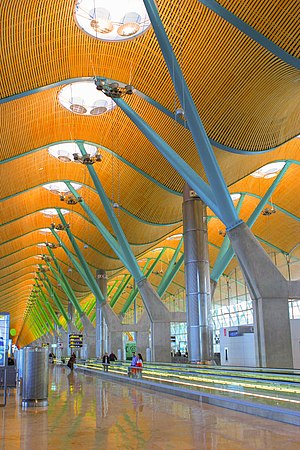 The new terminal at Barajas airport in Madrid,...
