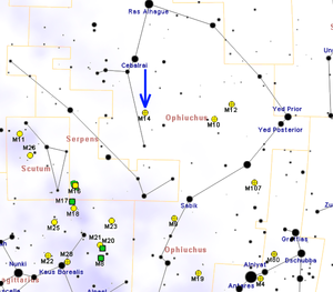 Messier 14 - Map showing location of Messier 14