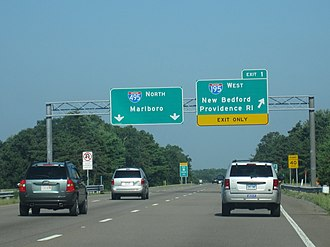 Massachusetts Route 25 - Western terminus of Route 25 in Wareham. I-495 begins underneath the bridge in the background.