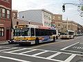 MBTA route 120 and 121 buses on Meridian Street, August 2015.JPG