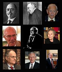 Composite image of various people related to macroeconomic theory.
