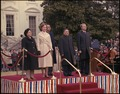 Madame Zhuo Lin, Rosalynn Carter, Deng Xiaoping and Jimmy Carter at the arrival ceremony for the Vice Premier of China. - NARA - 183155.tif