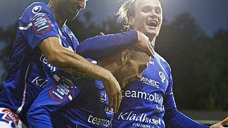 Magnus Eriksson (footballer, born 1990) - Eriksson celebrates scoring against Norrköping while playing for Åtvidaberg.