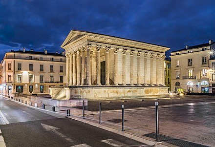 The Maison Carree was a temple of the Gallo-Roman city of Nemausus (present-day Nimes) and is one of the best-preserved vestiges of the Roman Empire. Maison Carree in Nimes (15).jpg