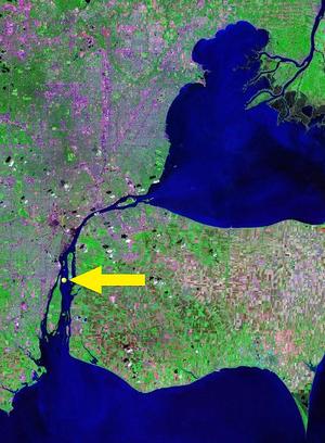 Mamajuda Island - Location of Mamajuda Island within the Detroit River