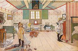 Carl Larsson: Mamma's and the Small Girls' Room. From A Home (26 watercolours)