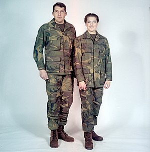 Battle Dress Uniform - A man and woman modelling early prototypes of the BDU in 1980.