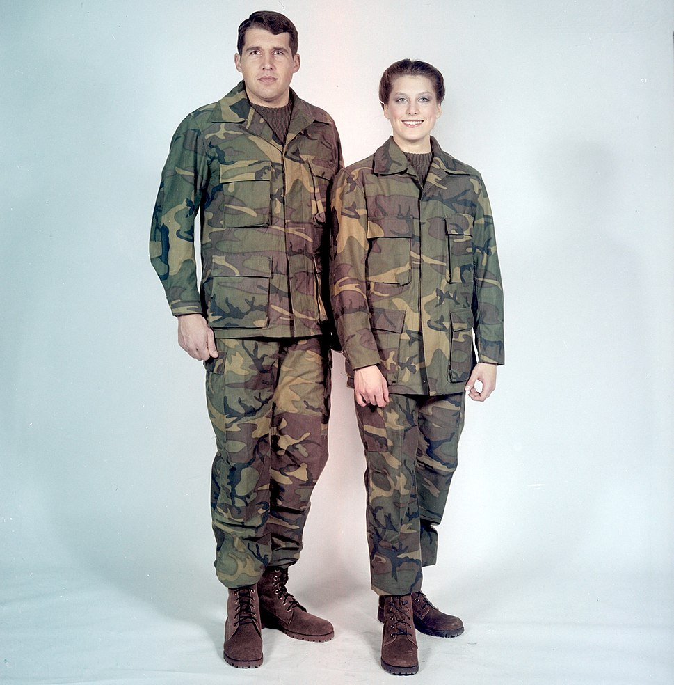 98c8205a180 Man and woman modelling early prototypes of the BDU in 1980