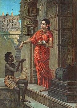 Mandodari based on Raja Ravi Varma's painting (cropped).jpg