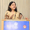 Maneka Sanjay Gandhi addressing at the inauguration of the All India Women Journalists' workshop, jointly organised by the Ministry of Women and Child Development and Press Information Bureau, in New Delhi.jpg