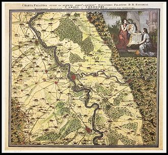 Christian Mayer (astronomer) - Mannheim and environs, Charta Palatina of Christian Mayer, about 1775.