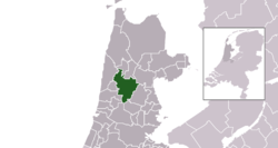 Highlighted position of Alkmaar in a municipal map of North Holland