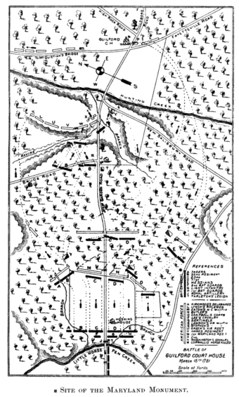 1893 Map of the battlefield, Guilford Courthouse battleground company Map Battle of Guilford Court House.png