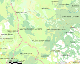 Mapa obce Malarce-sur-la-Thines