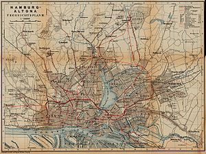 Hamburg S-Bahn - Railway and tramway map of Hamburg and Altona, about 1910.