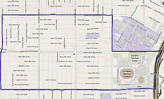 Exposition Park, Los Angeles - Exposition Park neighborhood boundaries of the city of Los Angeles, as mapped  by the Los Angeles Times