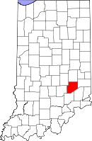 Map of Indiana highlighting Decatur County