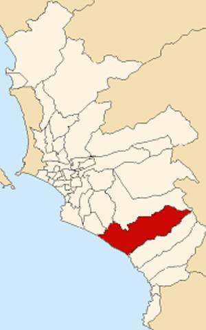 Lurín District - Image: Map of Lima highlighting Lurín