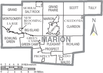 Marion County, Ohio - Map of Marion County, Ohio with municipal and township labels