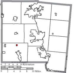 Location of Ludlow Falls in Miami County