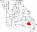 Map of Missouri highlighting Wayne County.png