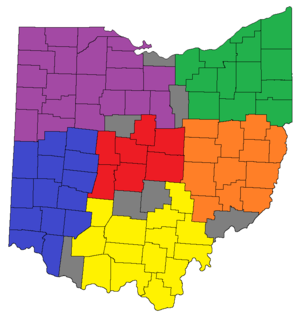 Ohio high school athletic conferences - The six OHSAA regions. The Central is in red, East in orange, Northeast in green, Northwest in purple, Southeast in yellow, and Southwest in blue. Counties that are in gray are split between two regions.