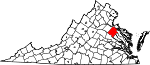 State map highlighting Caroline County