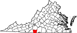 map of Virginia highlighting Henry County