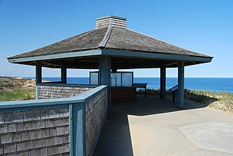 Marconi Wireless Station Site (South Wellfleet, Massachusetts) - Interpretive display pavilion at the site, 2010