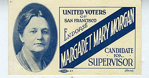 Margaret Mary Morgan - Image: Margaret Mary Morgan political campaign card, 1921