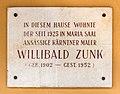 Maria Saal Hauptplatz 1 Gedenktafel Willibald Zunk 03072017 0121.jpg