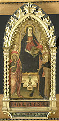 Virgin and Child Enthroned with Four Saints, Saints John the Baptist, Antony Abbot, Elizabeth of Hungary, a female saint