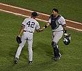 Mariano Rivera and Jose Molina in Baltimore 8-22-08.jpeg