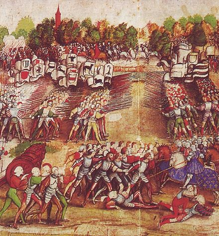 Swiss mercenaries and German Landsknechts fighting for glory, fame and money at the Battle of Marignan (1515). The bulk of the Renaissance armies was composed of mercenaries. Marignano.jpg