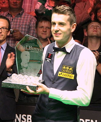 Mark Selby - Mark Selby with the 2012 Paul Hunter Classic trophy