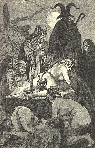 Theistic Satanism - Illustration by Martin van Maële, of a Witches' Sabbath, in the 1911 edition of La Sorciere, by Jules Michelet.