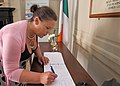 Mary Lou McDonald signs Book of Condolence for victims of Nice attack (27791872184).jpg