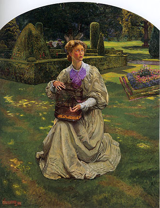 """Maud Tindal Atkinson - """"The Bird in a Cage"""", portrait of Maud Tindal Atkinson, Byam Shaw (1907)"""