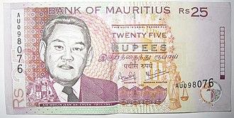Moilin Jean Ah-Chuen - Moilin Jean Ah-Chuen image on 25 Mauritian rupee.