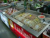 suite de frigos contenant des viandes semi-préparées sous forme de hamburgers, fricandelles, boulettes, etc.