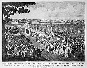 History of trade unions in the United Kingdom - Meeting of the trade unionists in Copenhagen Fields, 21 April 1834, for the purpose of carrying a petition to the King for a remission of the sentence passed on the Dorchester labourers